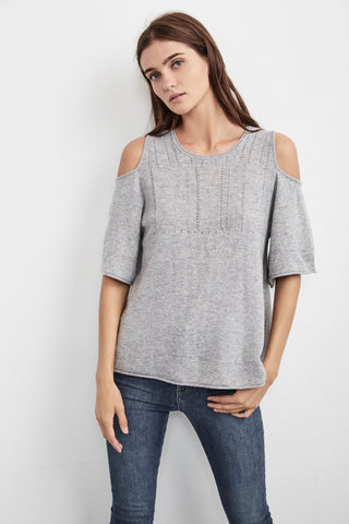 ISLEY CASHMERE BLEND COLD SHOULDER SWEATER IN GREY