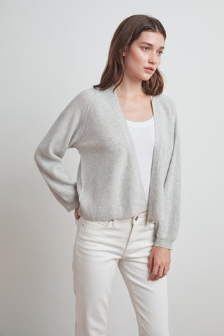 LYNN CASHMERE BLEND CARDIGAN IN HEATHER GREY
