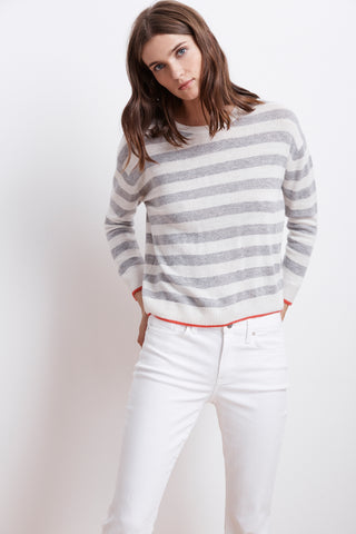 RYLAN STRIPE CASHMERE BLEND SWEATER IN HEATHER GREY