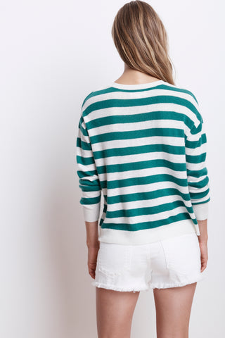RYLAN STRIPE CASHMERE BLEND SWEATER IN KELLY
