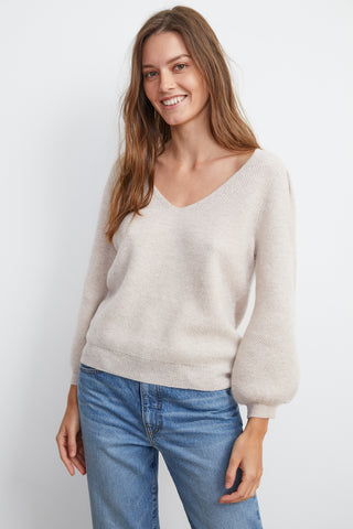 YELENE CASHMERE V-NECK SWEATER IN COBBLE