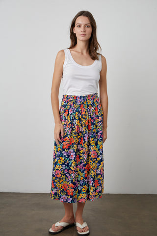 CHANNA PRINTED SKIRT IN NAVY FLORAL