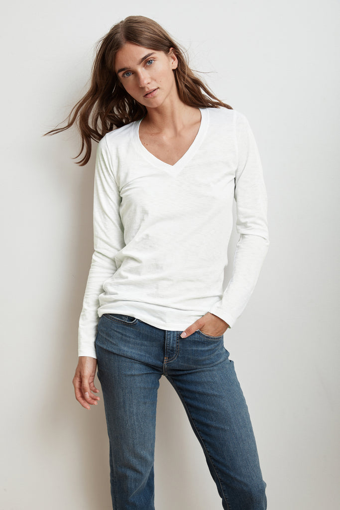 BRIDGET LONG SLEEVE V-NECK TEE IN WHITE
