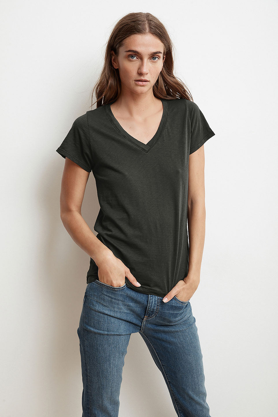 JILL CITY COTTON SLUB T-SHIRT IN CIRRUS