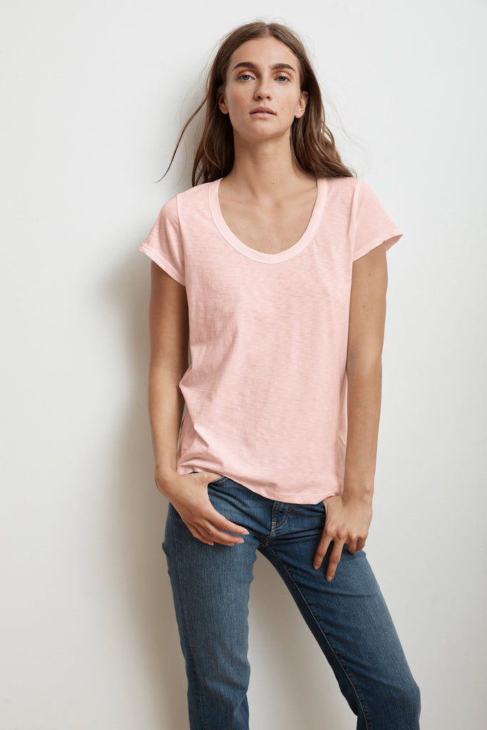 KATIE CITY COTTON SLUB T-SHIRT IN ROSETTA