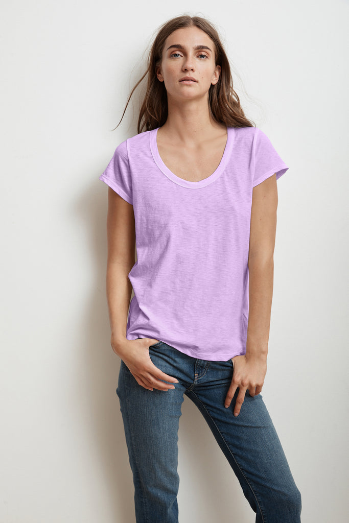 KATIE CITY COTTON SLUB T-SHIRT IN SORBET