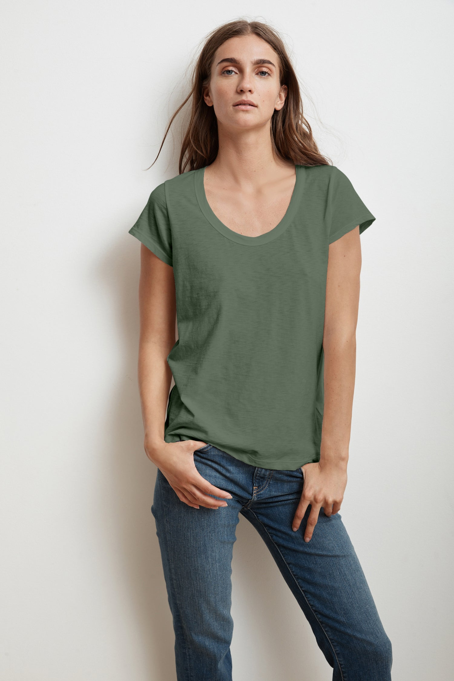 KATIE CITY COTTON SLUB T-SHIRT IN ALOE