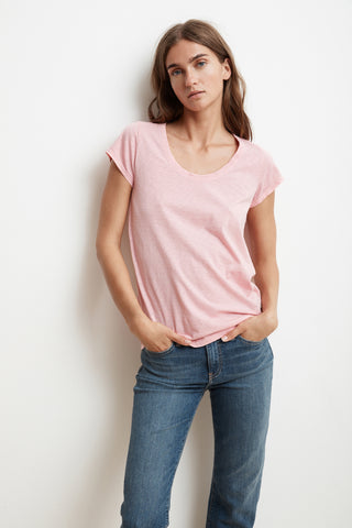 KATIE SHORT SLEEVE SCOOP NECK TEE IN BUBBLE