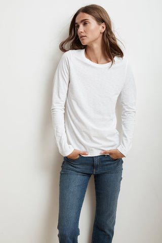 LIZ LONG SLEEVE ROUND NECK TEE IN WHITE