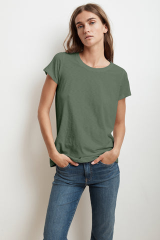 TRESSA SHORT SLEEVE CREW NECK TEE IN ALOE