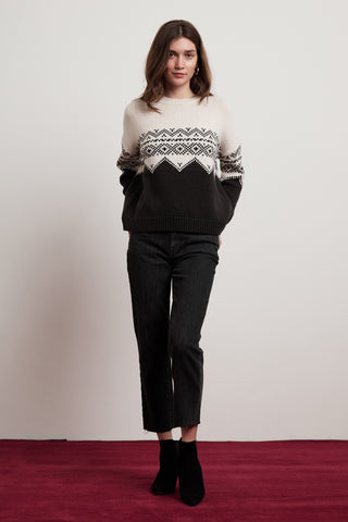 LEANNA COLORBLOCK FAIR ISLE SWEATER IN MILK CHARCOAL