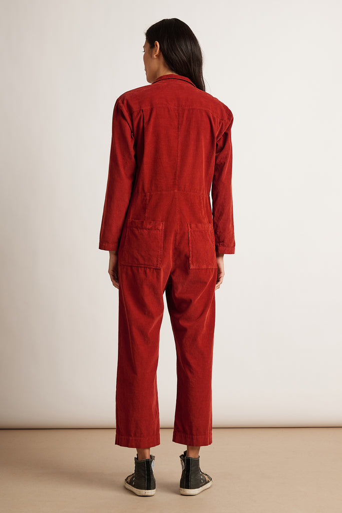 DELANEY CORDUROY JUMPSUIT IN BORDEAUX
