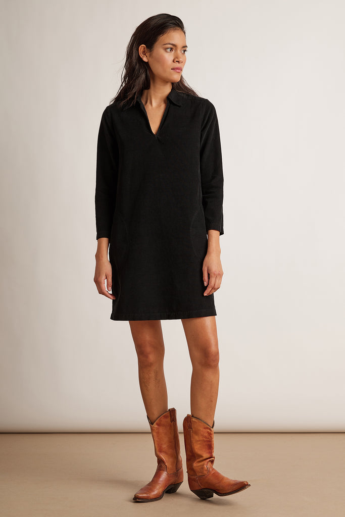 LANA CORDUROY DRESS IN COAL