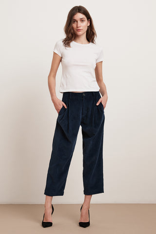 OPHELIA COTTON CORDUROY TROUSERS IN ANCHOR