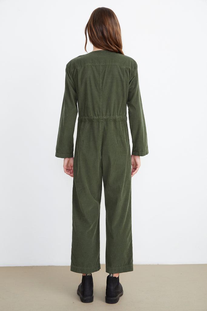 RUTHANN CORDUROY JUMPSUIT IN OLIVE