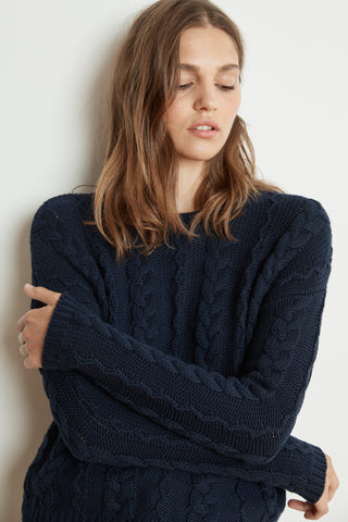 ARELY COTTON CABLE KNIT SWEATER IN NAVY