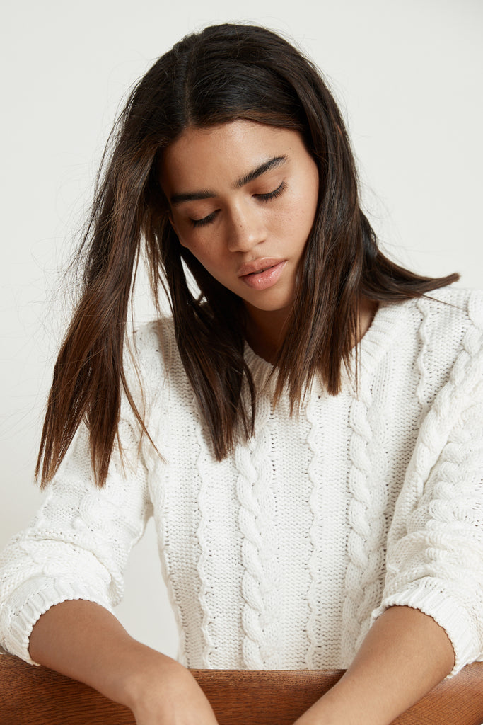 ARELY COTTON CABLE KNIT SWEATER IN MILK