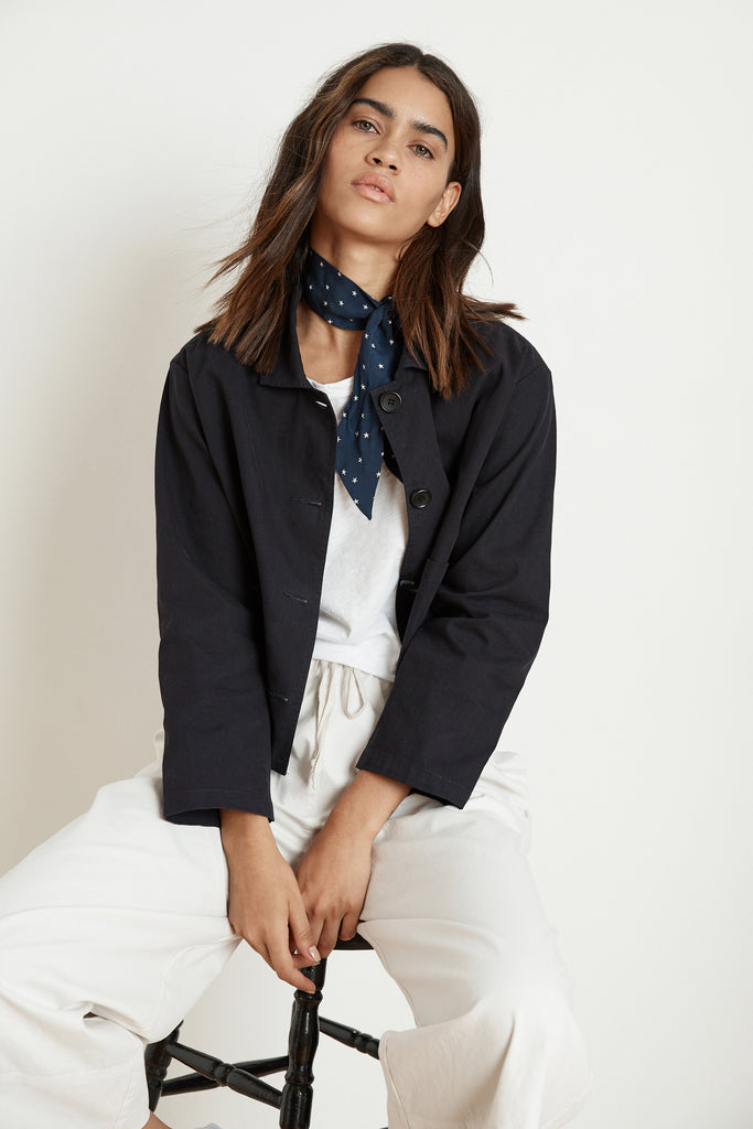 MAGDALIN COTTON CANVAS CROP JACKET IN POSTMAN