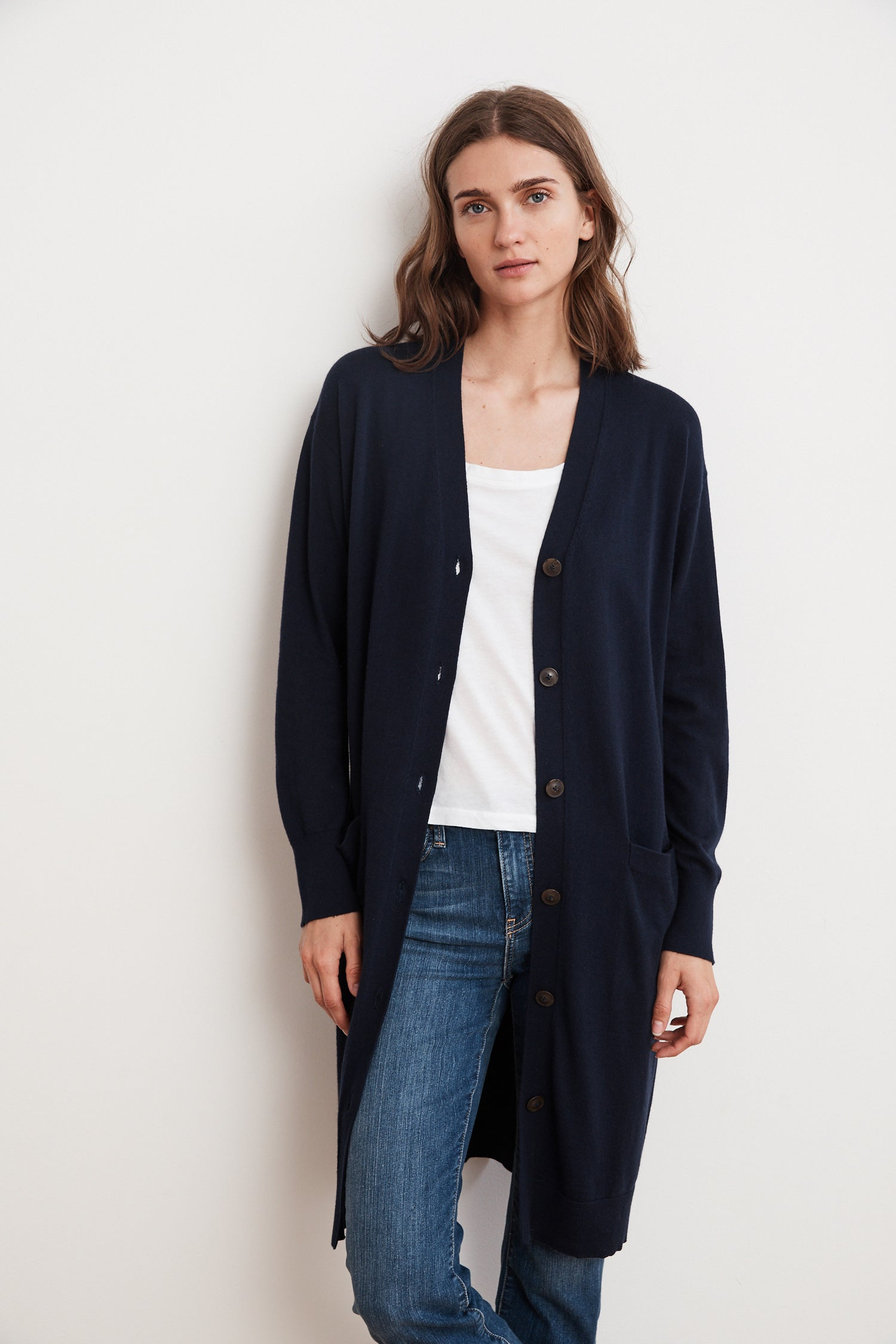 TANIA LIGHTWEIGHT COTTON CASHMERE DUSTER CARDIGAN IN MARIN