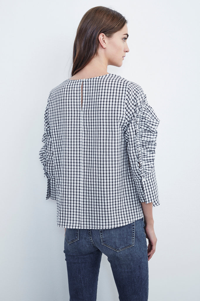 MELODY COTTON CHECK 3/4 SLEEVE RUFFLE TOP IN NAVY