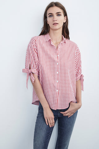 PRIYA COTTON CHECK TIE SLEEVE BUTTON UP IN RED