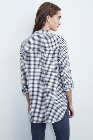 RUFINA COTTON CHECK BUTTON UP IN NAVY