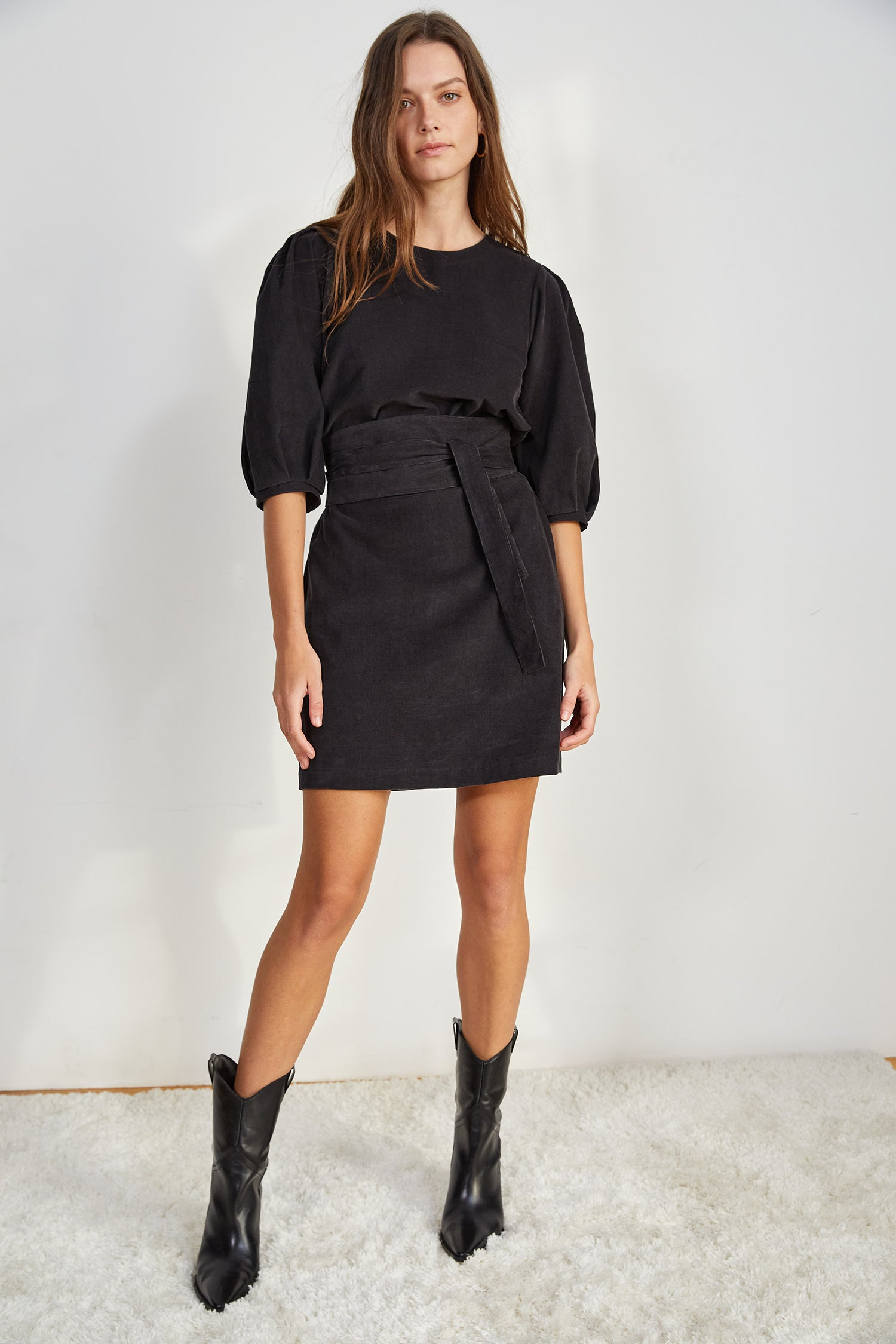 ZINA CORDUROY DRESS IN COAL