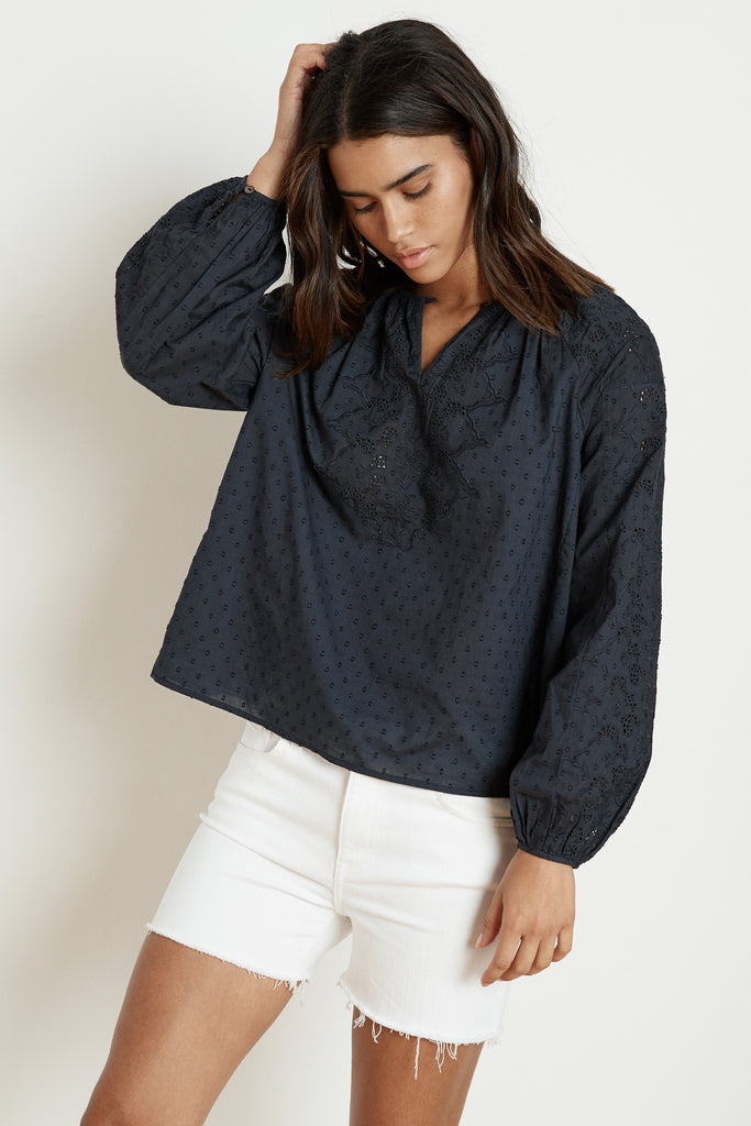 VICTORIA COTTON DOBBY EYELET PEASANT BLOUSE IN COPEN