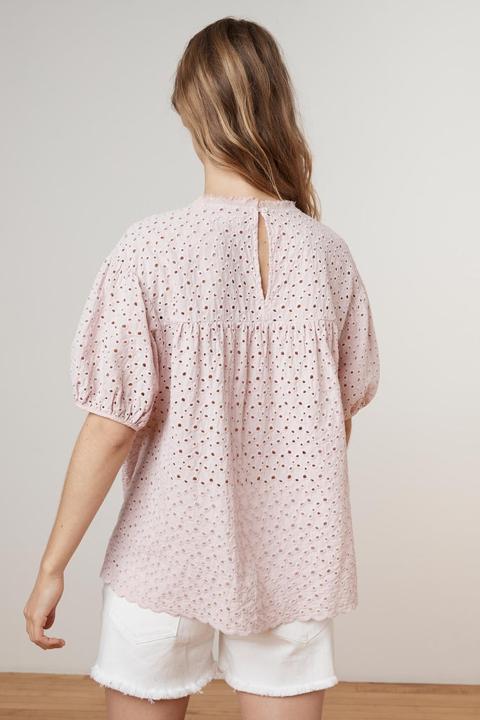 MAYLIN COTTON EYELET PUFF SLEEVE BLOUSE IN CUPID