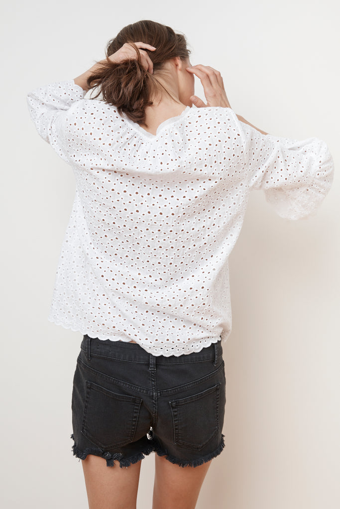 SAIDEE COTTON EYELET BELL SLEEVE TOP IN WHITE