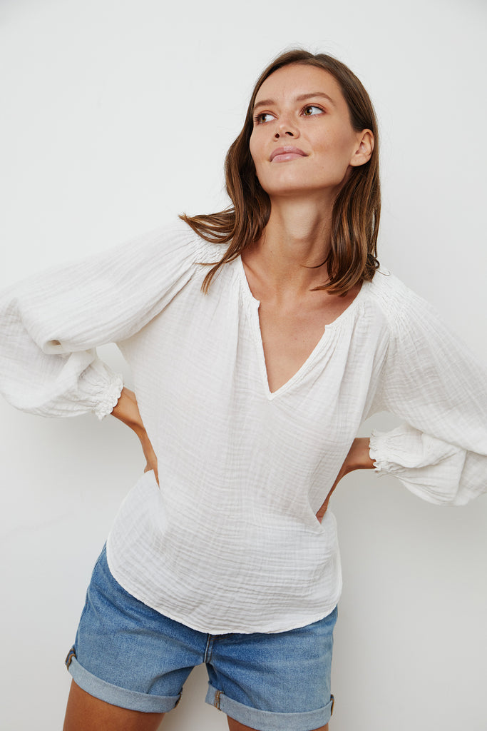 ANTONIA COTTON GAUZE BLOUSE IN ECRU