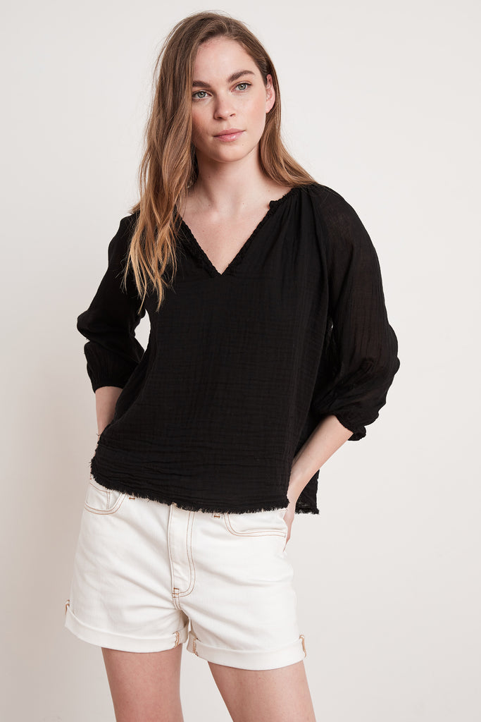 CATHY COTTON GAUZE TOP IN BLACK