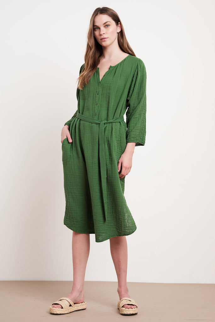 CRYSTAL COTTON GAUZE DRESS IN JUNGLE