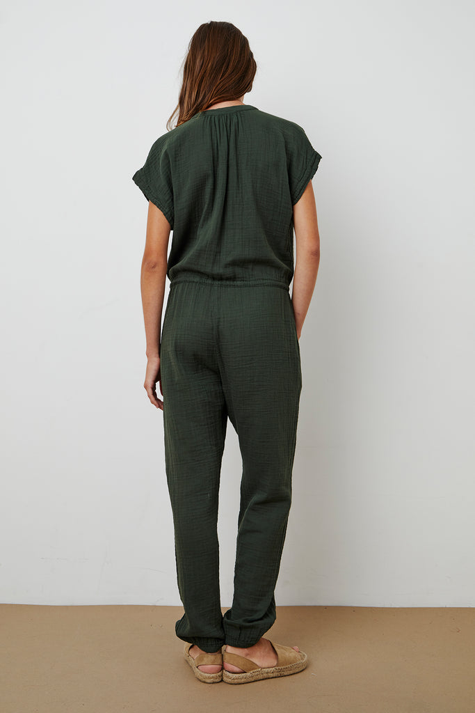 ELANA COTTON GAUZE JUMPSUIT IN DILLWEED