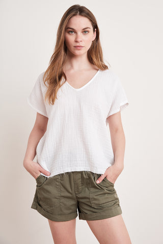 ELSA COTTON GAUZE TOP IN WHITE