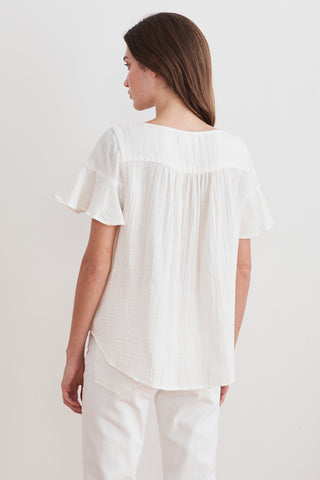 JULIA RUFFLE SLEEVE COTTON GAUZE BLOUSE IN ECRU