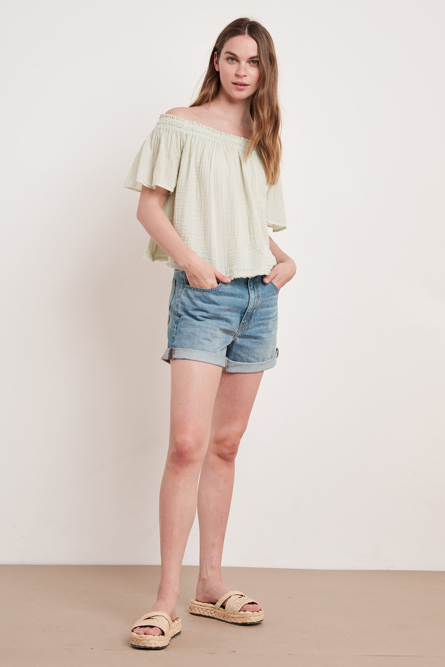JULIE COTTON GAUZE TOP IN KIWI