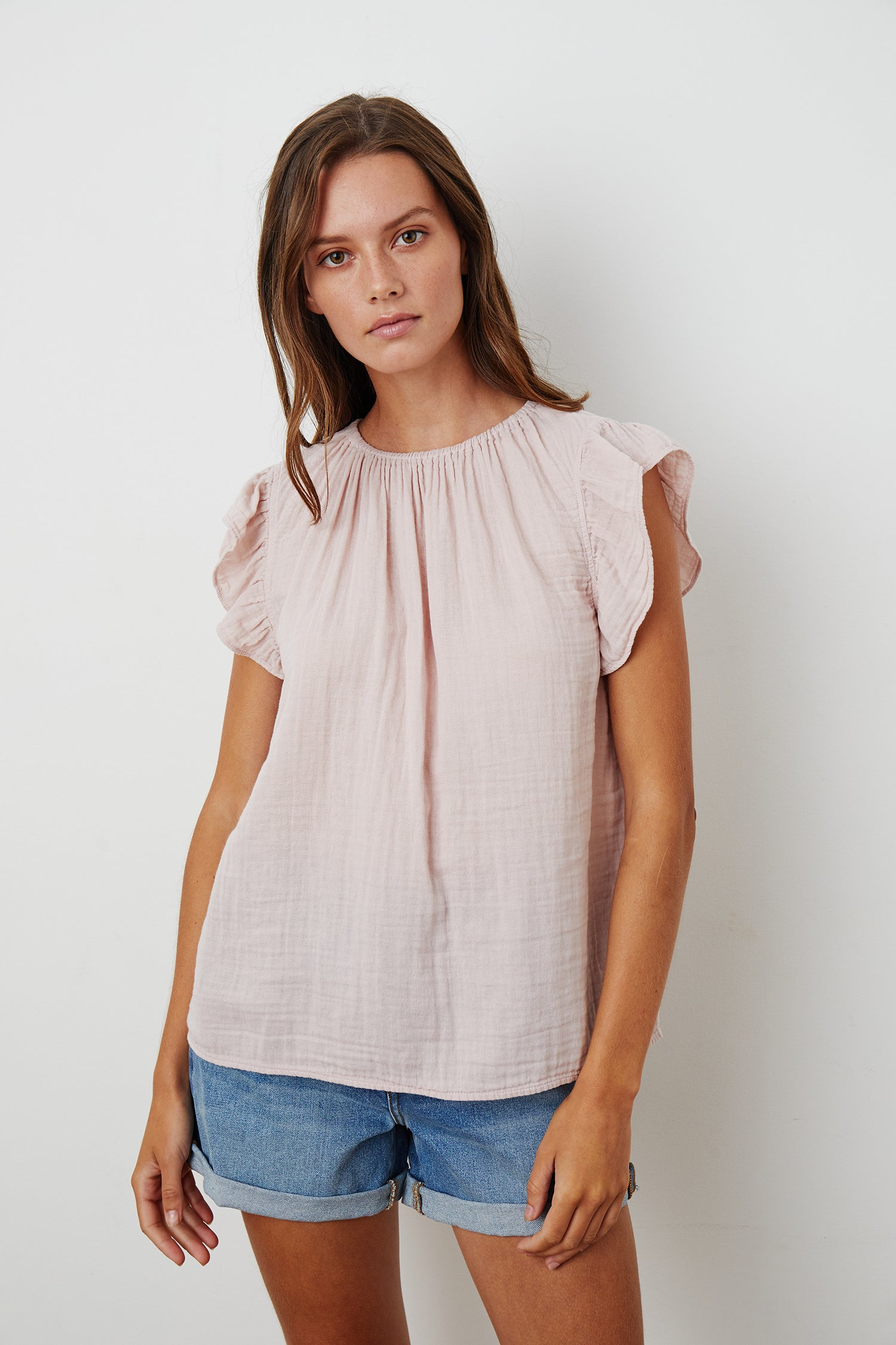 KAIA COTTON GAUZE BLOUSE IN PEONY