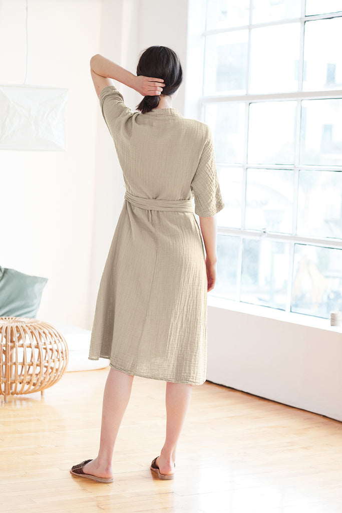 KERRY COTTON GAUZE V-NECK DRESS IN DUSK