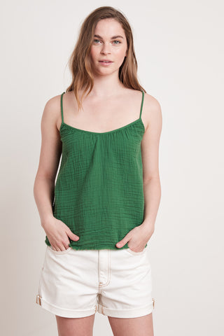 MARY COTTON GAUZE TOP IN JUNGLE