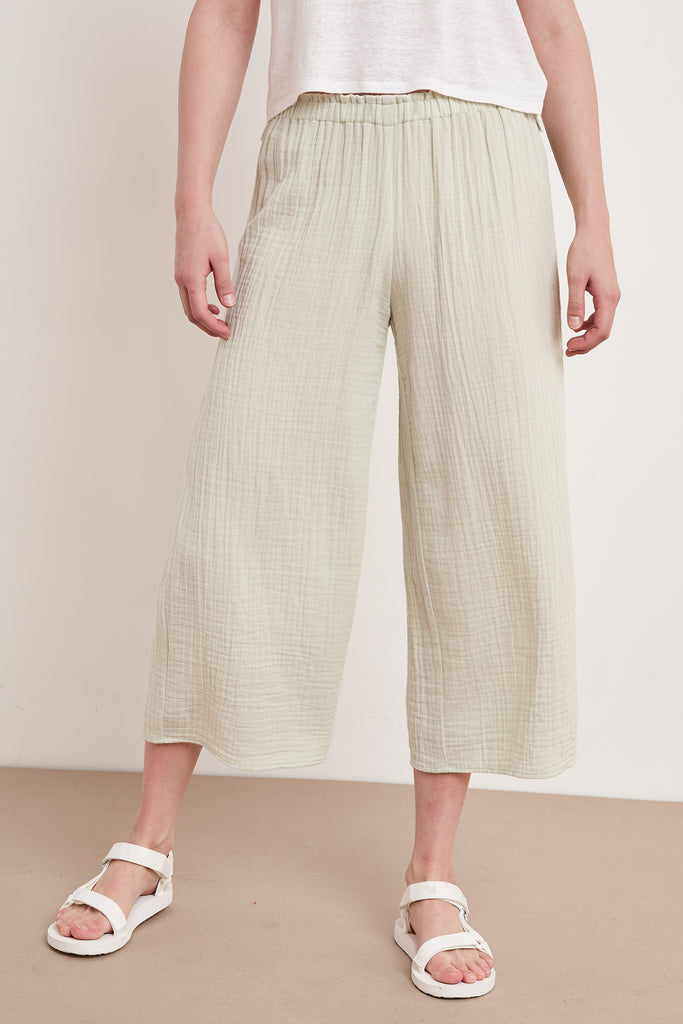 NYLEEN COTTON GAUZE PANT IN KIWI