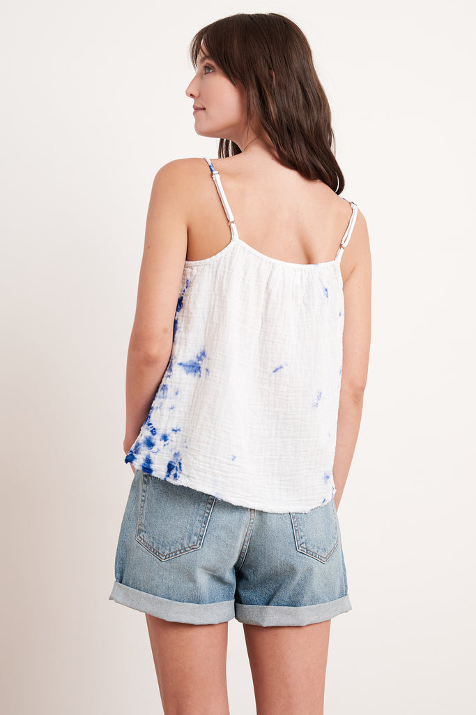 CAROL COTTON GAUZE TIE TOP IN COBALT
