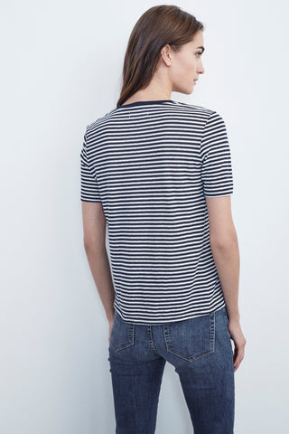 RAIN COTTON KNIT STRIPE PATCH TEE IN NAVY / WHITE
