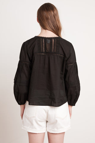 PIA COTTON LACE TOP IN BLACK