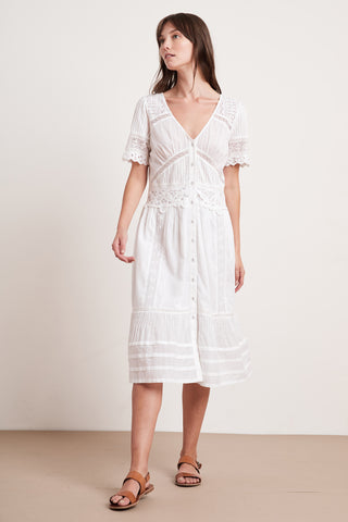 SURI COTTON LACE DRESS IN WHITE