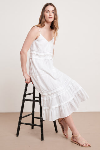 ZULY COTTON LACE DRESS IN WHITE