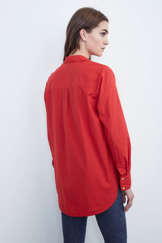 ELSA COTTON POPLIN BUTTON UP IN RED