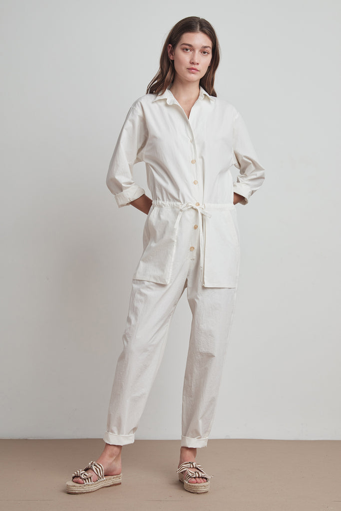 JOSEPHINE COTTON POPLIN JUMPSUIT IN ECRU