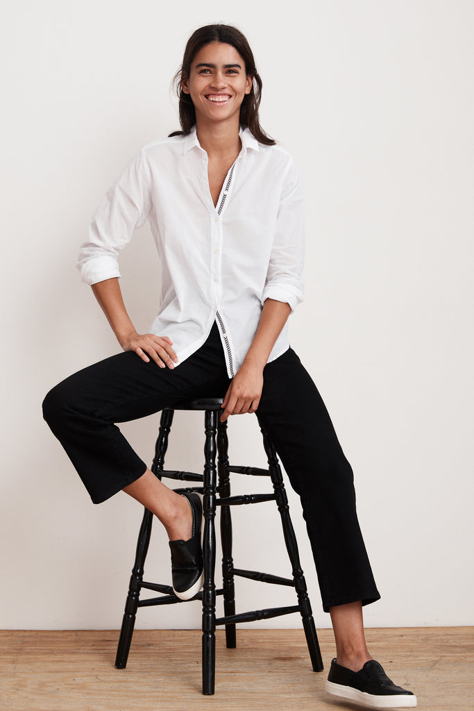 ELEANORA COTTON BUTTON UP SHIRT IN WHITE