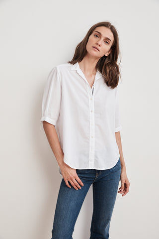 LAURA COTTON WOVEN SHORT SLEEVE BUTTON UP SHIRT IN WHITE